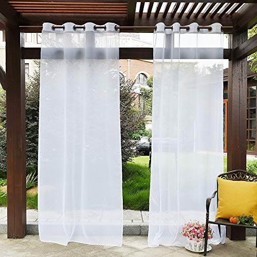 PONY DANCE White Outdoor Sheer - Water Repellent Outdoor Indoor Curtain Privacy Drape with 1 Tieback Rope Volie Curtain Panel for Front Porch, W 54 by L 96 inches, Single Piece (Material Best Outdoor Curtains For)