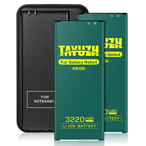 TAYUZH Galaxy Note 4 Battery | 2X 3220mAh Li-ion Replacement Battery for Samsung Galaxy Note 4 N910, N910U, N910V, N910A, N910T, N910P with Note 4 Spare Battery Charger - 24 Month Warranty