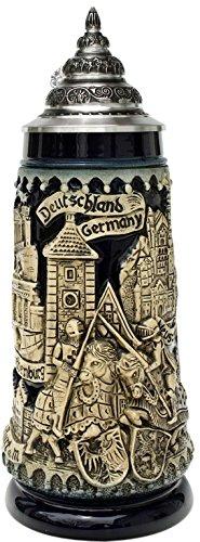 Beer Steins By King - Deutschland Germany Kight beer mug stone grey 0.5L by KING