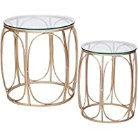 Joveco Golden Modern Designed Accent Metal Nesting Round Drum End Table with Glass Top, Set of 2