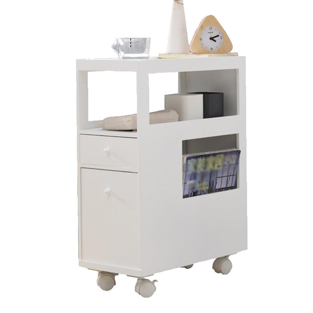 Bedside Table Bedside Table-Multifunctional Slot Cabinet, Bedroom Living Room Bedside Ultra Narrow Storage Cabinet/White Width 21.5 cm (Size : 21.543.553cm)