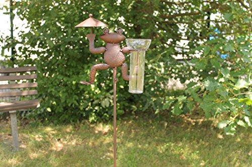 Regenmesser Gartenstecker Frosch aus Metall Garten-Deko Glas Rostoptik 115cm