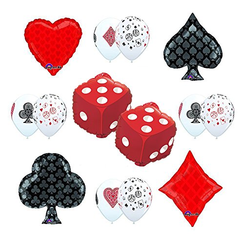 CASINO NIGHT Cards and Dice Party Supplies and Balloon decorations]()