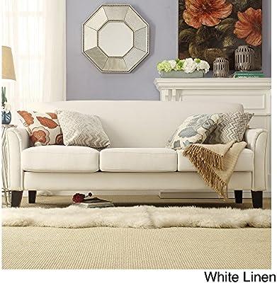 amazon com home uptown modern sofa suede white linen home kitchen rh amazon com