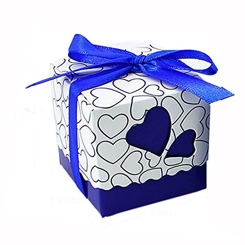 Wedding Candy Boxes - Leehome 100PCS Wedding Party Favors Candy Gift Boxes With Ribbons (Royal Blue)