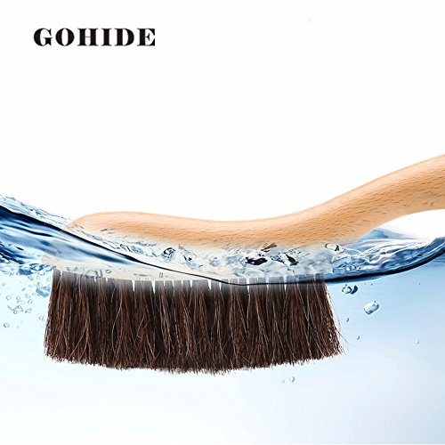 Gohide A Soft Cleaning Brush with Natural Solid Wood Handle and Natural Bristle Brush for Clothes Cleaning, Dust Hair, Sofa, Bed, Bedspread, Carpet Cleaning L:34.5cm, W:8.5cm, H:2.0cm (L) XCX by GOHIDE (Image #7)'