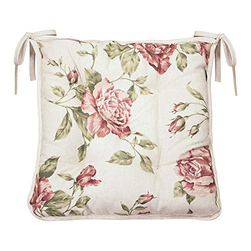 Provence Soft Cotton Chair Cushion in French Country Style, 15'' x 15'', Pink Rose ()