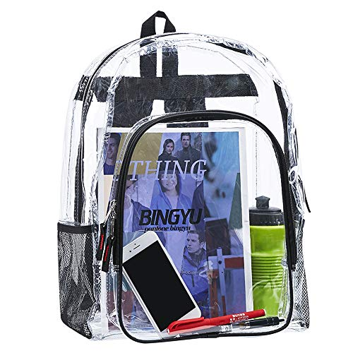 Heavy Duty Clear Backpack,Transparent Vinyl Adjustable Straps Backpack for Work ,Security Travel & Sports