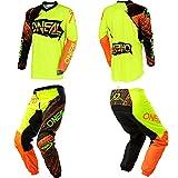 O'Neal Element Burnout Hi-Viz/Orange motocross MX off-road dirt bike Jersey Pants combo riding gear set (Pants W42/Jersey X-Large)
