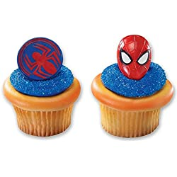 Spiderman Mask and Spider Cupcake Rings - 24 ct