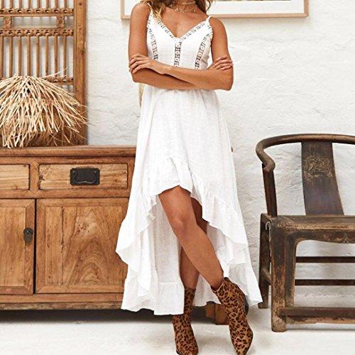 Robe SANFASHION de Prime Jupe sans Vlant Bretelle Loose Bohme Day Chic Party Vintage Plage Blanc Sexy Femme t qrtrw
