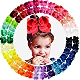 30pcs Big 6' Hair Bows Clips Solid Color Grosgrain Ribbon Larger Hair Bows Alligator Clips Hair Accessories for Baby Girls Infants Toddlers Kids Teens Little Girls