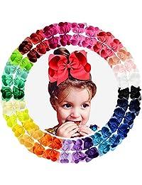 Lazos grandes para el pelo, 30 unidades, 15 cm, color liso, cinta de grogrén, lazos más grandes, pinzas de cocodrilo, accesorios para el pelo, para bebés, niñas, bebés, niños, adolescentes, niñas pequeñas