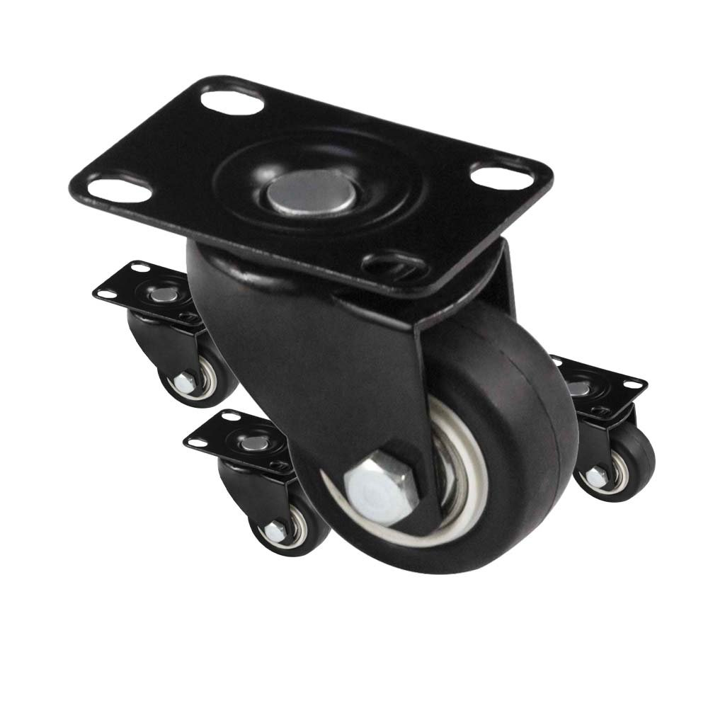 8T8 2-Inch Top Plate Swivel Casters Replacement Solid Rubber Wheels Heavy Duty 550lb for Furniture Removable Carts Shelving Stools Tables (Non Brake_Black)