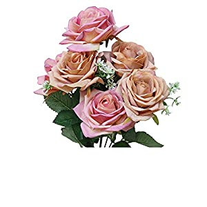 MaxFox 7 Head Artificial Flowers,Fake Roses Bouquet Bridal Holding Bouquet Wedding for Party Home Garden Decoration 56