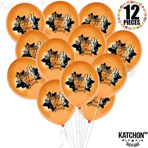 Happy Thanksgiving Balllons with Maple Leaves - Pack of 12 Latex Balloons | Thanksgiving Decorations | Fall Decorations | Give Thanks Balloons | Orange and Black Latex Balloons, Autumn Décor Balloons