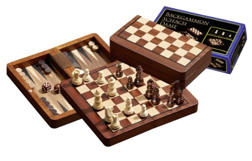 Philos Chess, Backgammon and Draughts Travel Set (16cm)