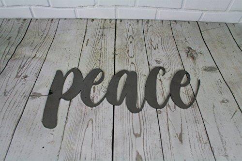 Raw Steel Unpainted Word Art - peace size ()