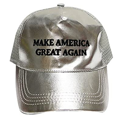 Cr110 Trump Make America Great Again Metalic Trucker Cap in Silver