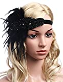 BABEYOND 1920s Flapper Headband 20s Great Gatsby Headpiece Black Feather Headband 1920s Flapper Gatsby Accessories with Crystal (Black)