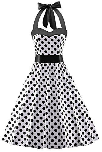 80s black and white polka dot dress - 1