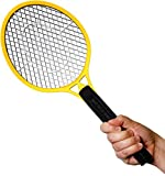 BugzOff Electric Fly Swatter Racket - Best Zapper for Flies - Swat insect repellent, Wasp, Bug & mosquito repellent with Hand - Indoor and Outdoor Trap and Zap Pest Control Killer (Yellow)