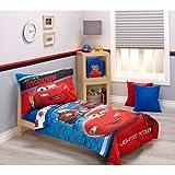 DP 4pc Boys Blue Red Disney Cars Movie Themed Comforter Set Toddler Sheets, Lightning Mcqueen Luigi Guido, Polyester Microfiber, Vibrant White Red Brown Kids Bedding Bedroom