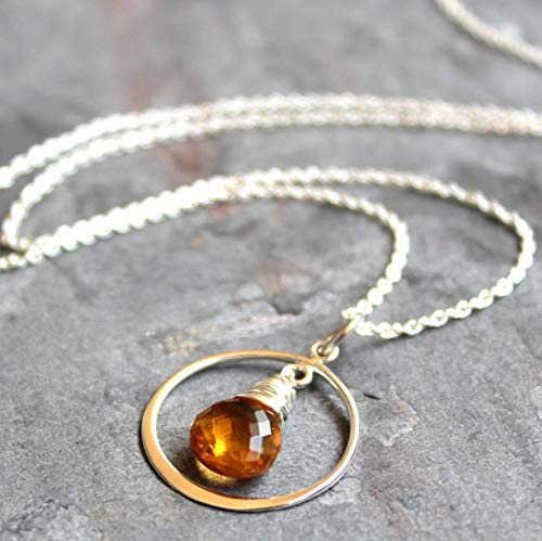 Delicate Citrine Necklace Sterling Silver Briolette Circle Pendant November Birthstone 18 Inch
