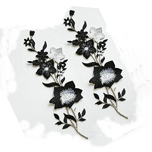 New Plum Blossom Flower Applique Clothing Embroidery Patch Fabric Sticker Iron On Sew On Patch Craft Sewing Repair Embroidered (Black and White) Black And White Flower Fabric
