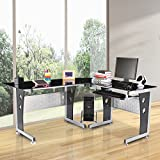 HomCom-64-in-Modern-L-Shaped-Glasstop-Office-Workstation-Computer-Desk