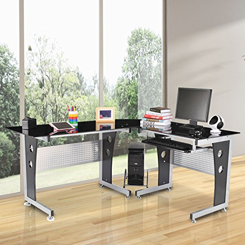 51Hz3MHNdTL - HomCom 64 in. Modern L-Shaped Glasstop Office Workstation Computer Desk