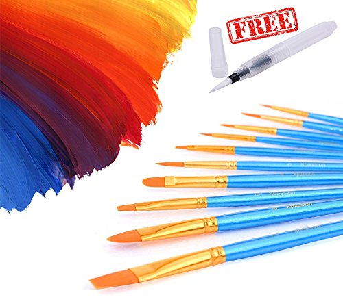 Home Office U D    Paint Brush Set Acrylic 10Pcs Professional Paint Brushes Artist For Watercolor Oil Acrylic Painting Free Water Brush