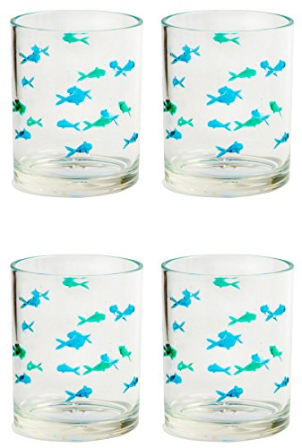 Acrylic BPA Free School of Fish DOF Double Old Fashioned Glasses, Set of 4