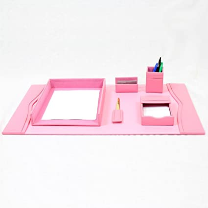 Bonded Leather Desk Set (6 Piece) (Pink)