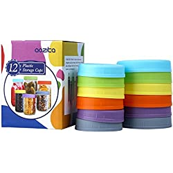 Aozita [12 Pack] Colored Plastic Mason Jar Lids for Ball, Kerr and More - 6 Regular Mouth & 6 Wide Mouth - Food-Grade Plastic Storage Caps for Mason/Canning Jars - Anti-Scratch Resistant Surface