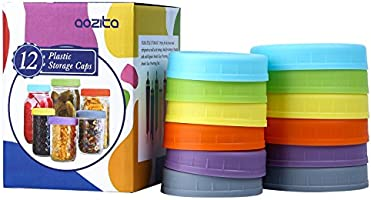 Aozita 12 Piece Colored Plastic Mason Jar Lids for Ball and More - 6 Regular Mouth & 6 Wide Mouth - Plastic Storage Caps...