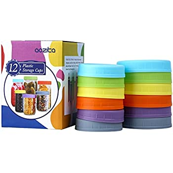 'Aozita 12 Piece Colored Plastic Mason Jar Lids for Ball and More - 6 Regular Mouth & 6 Wide Mouth - Plastic Storage Caps for Mason Jars' from the web at 'https://images-na.ssl-images-amazon.com/images/I/51Hz3swPm3L._SL500_AC_SS350_.jpg'