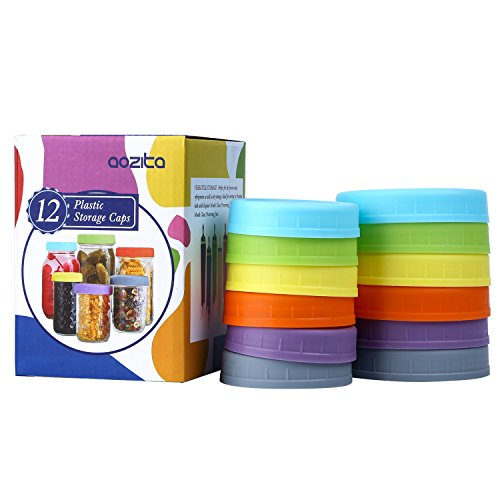 Aozita 12 Piece Colored Plastic Mason Jar Lids for Ball and More - 6 Regular Mouth & 6 Wide Mouth - Plastic Storage Caps for Mason Jars ()