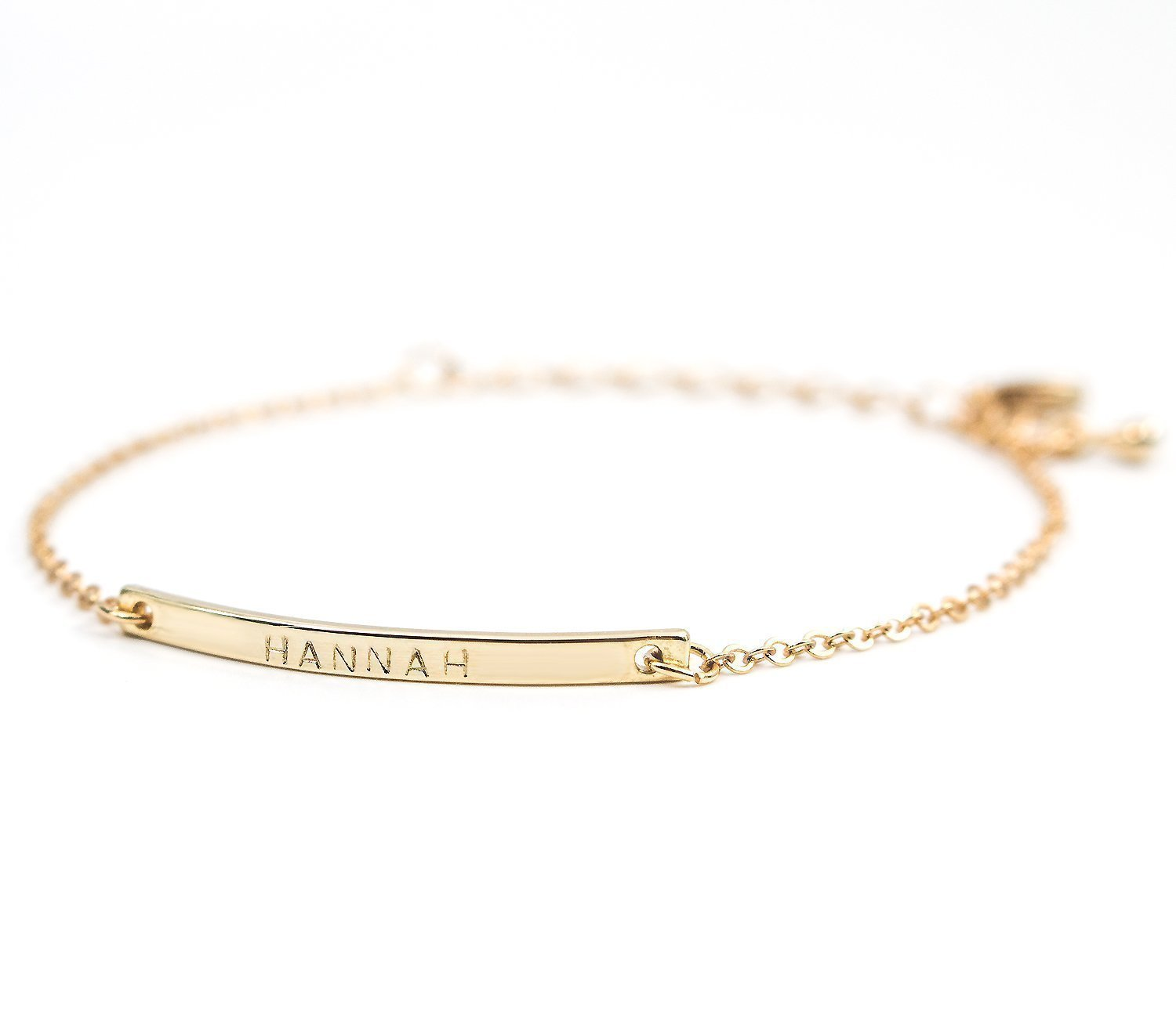 16K Gold Your Name Bar Bracelet - Personalized Gold Plated bar Delicate Hand Stamp bridesmaid Wedding Graduation Gift