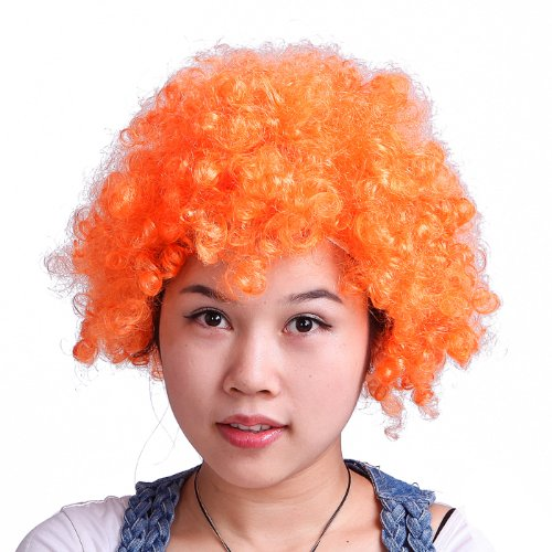 HDE Neon Color Afro Curly Clown Halloween Costume Party Wig Fake Goofy Unisex Hair (Bright Orange)]()
