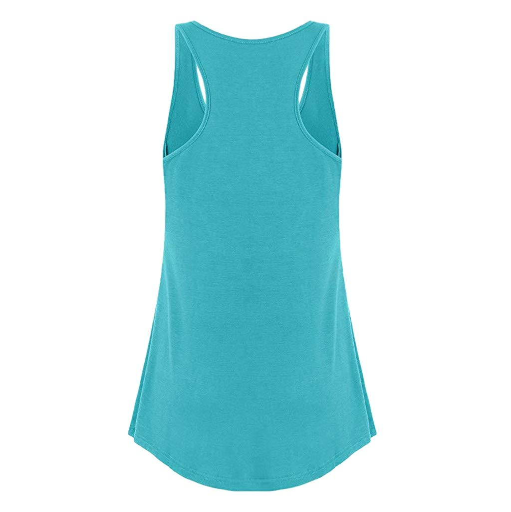 Pervobs Womens Summer Sleeveless Round Neck Loose Flowy Hem Solid Button Workout Daily Tank Top Sport Vest Blouse(US: 8, Green) by Pervobs T-Shirt (Image #2)