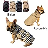 REENUO Pet Dog plaid Warm Coats and Jackets Hoodie Sweater Waterproof Snowproof Clothing Autumn Winter Reversible Clothes Warm Padded Apparel Waistcoat Sweatshirt Chest Protector(Beige,M)