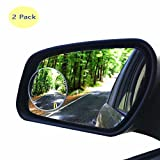 HIJOY Glass Blind Spot Mirror, No-Rim Car Spot Vision Mirror, Convex Rear-View Car Add-on Mirror, Rotatable Angles for Car, Motorcycle, Taxi, Easy DIY Installation (Real Glass, 2 Packs)