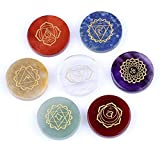 Chakra Stones-Healing Crystal With Engraved Chakra Symbols 1.3x1.3x0.24inch Set of 7 Holistic Balancing Polished Palm Stones