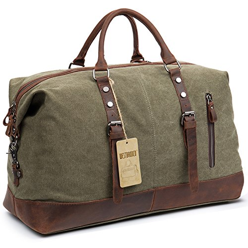 Canvas Luggage Bag for Men or Women Oversized Classic Vintage Genuine Leather Weekender Travel Tote Duffel Army Green – WESTBRONCO