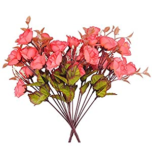 RealFeel Artificial Silk Fake Flowers Arrangement, Rose Bouquets for Wedding Parties Floral Decor DIY, 7 Branch 14 Heads, Pack of 2 11