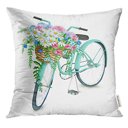 UPOOS Throw Pillow Cover Blue Vintage Watercolor Turquoise Bicycle with Beautiful Flower Basket Hand Summer Bike White Aster Holland Decorative Pillow Case Home Decor Square 18x18 Inches Pillowcase