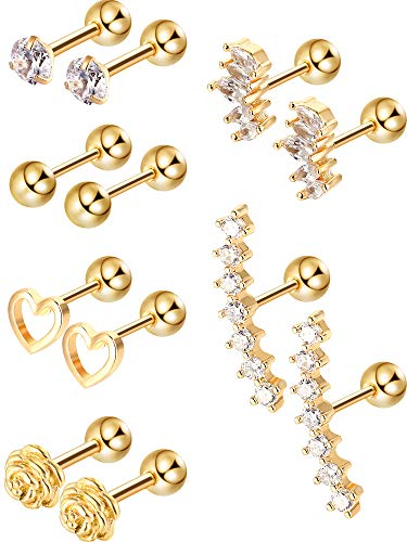 Blulu 6 Pairs Stainless Steel Tragus Cartilage Earrings Labret Studs Barbell Lip Nose Body Stud Piercing for Men Women Ornament (Gold)