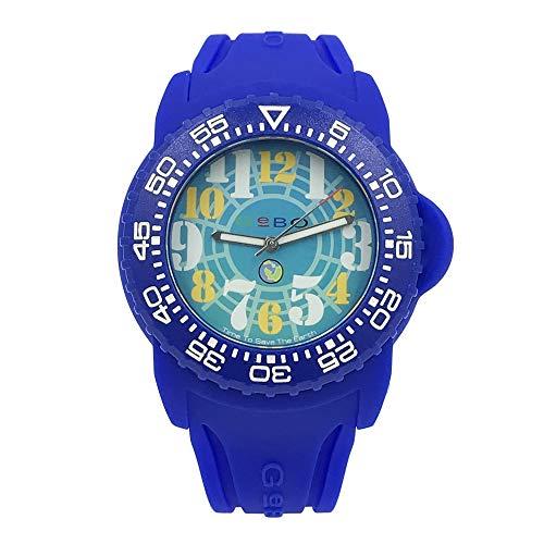 GeBo Unisex 44mm Sports Diver Blue Rubber Band Steel Case Quartz Watch 43900