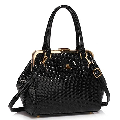 Women's Ladies Girl's Cute Bow Bag Faux Leather High Quality Hot Selling Trendy Hnadbag Tote CWS00258 Black Bow Bag